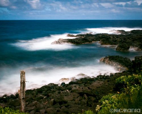 ocean longexposure summer sky color water clouds hawaii nikon rocks surf maui le hana hawaiianislands d90 outdoorphotography tamron1750 10stop