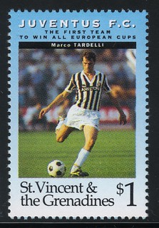juventus the first team to win all europe cups stamp 11 - st. vincent & the grenadines