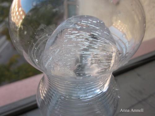 Ice in a water bottle