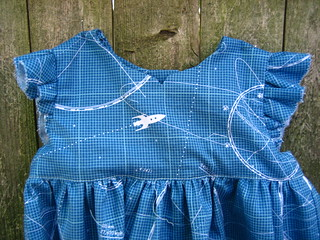 Geranium Dress rocket ship detail