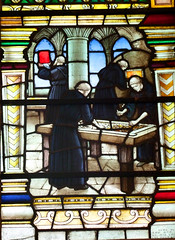 monks make a stained glass window