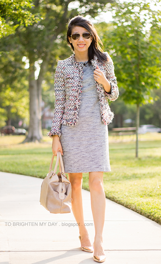 tweed jacket, jeweled tweed dress, taupe bag, metallic rose wedges