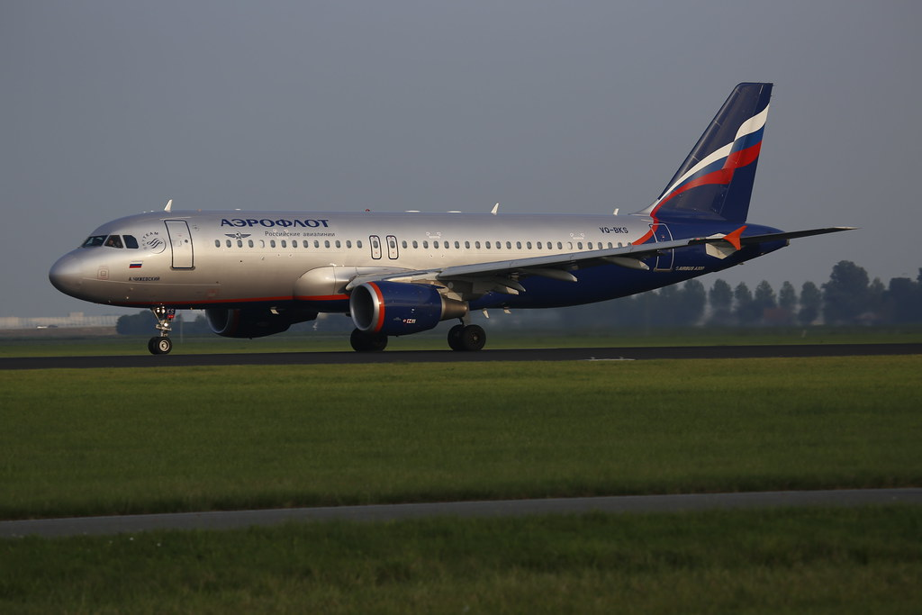 Aeroflot Airbus A320 in the evening sun.
