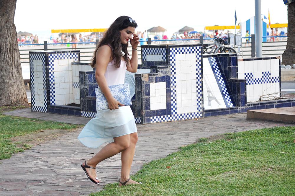 oropesa del mar something fashion town blogger, diy clutch how to toile de jouy, amanda ramon mango dress valencia streetstyle ombre dress summer, jellies gloria ortiz necklace carolina herrera spain fblogger