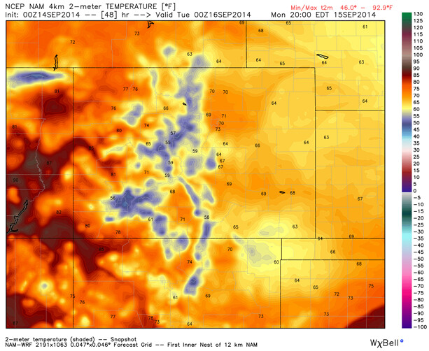 Monday temperature forecast Denver