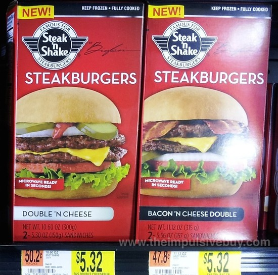 Steak 'n Shake Frozen Double 'N Cheese and Bacon 'n Cheese Double Steakburgers