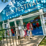 Sunny entrance to the Edinburgh International Book Festival |