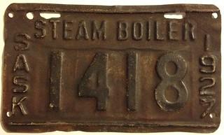SASKATCHEWAN 1927--- STEAM BOILER PLATE