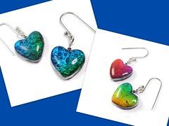 polymer clay Reversible Heart earrings