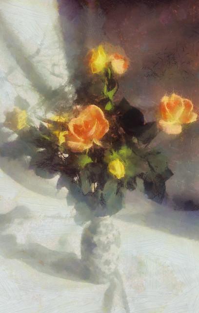 Rosas numa pequena jarra | Roses in a small jar | Roses dans un petit pot | Rose in un piccolo vaso | Rosas en un pequeño frasco | Розы в небольшом банке