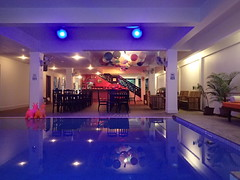 The Siem Reap Hostel pool and lounge area.