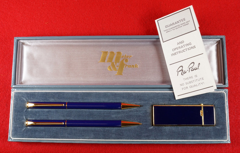 RD15089 Vintage Meier & Frank Pencil and Ink Pen with Long Sharp Lighter Set in Box Japan DSC07516