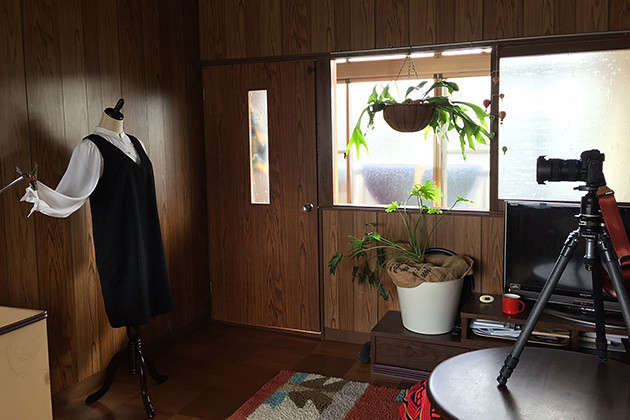 ハンドメイド服自宅で撮影裏側