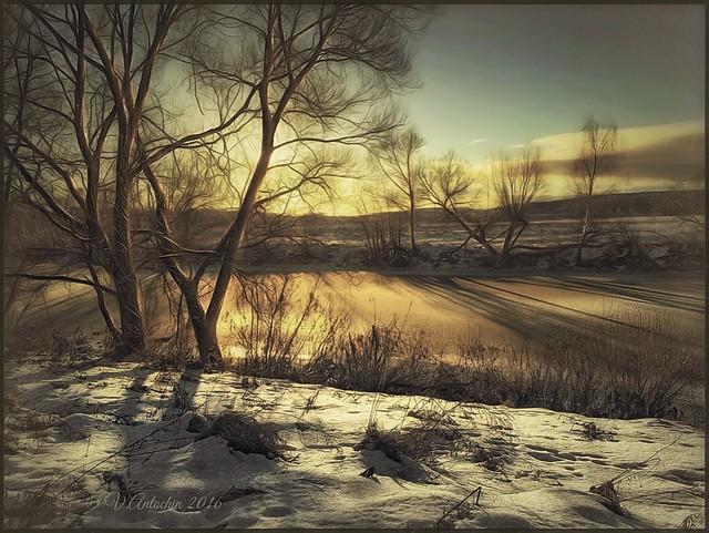 Winter on the river Protva.