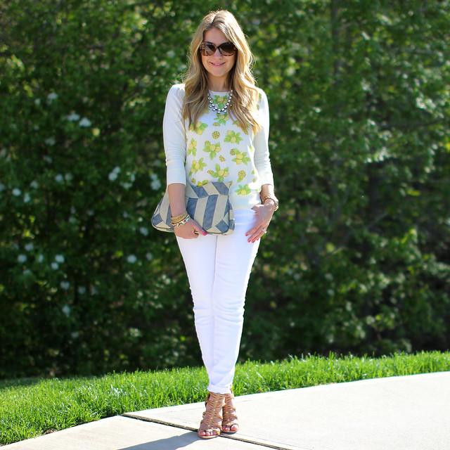 Ann Taylor Lemon Sweater White Lemon Print Sweater Outfit