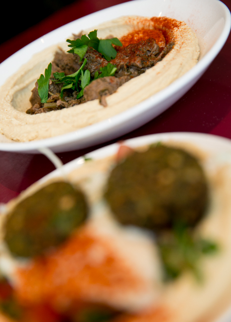 Falafel and Chunky Beef Hummus