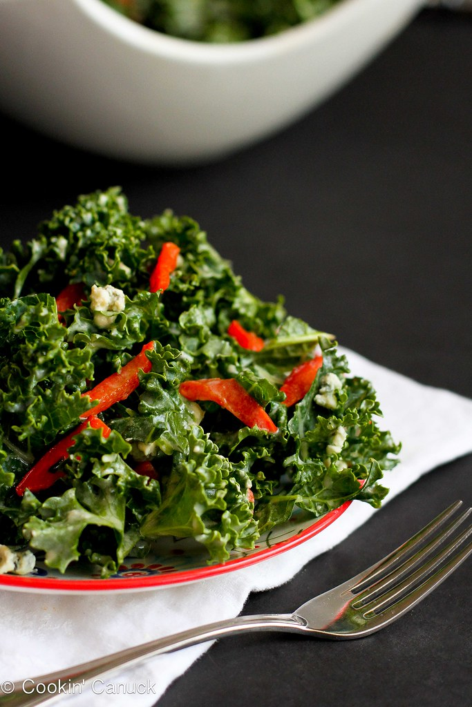 Chopped Kale Salad Recipe with Gorgonzola and Dijon Yogurt Dressing...128 calories and 4 Weight Watchers P