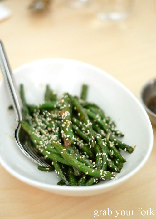 Green beans with red miso at Potts Point, Sydney