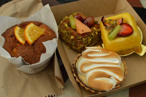 The Grounds of Alexandria: Orange & poppyseed muffin, polenta cake, passionfruit cheesecake, lemon meringue tart