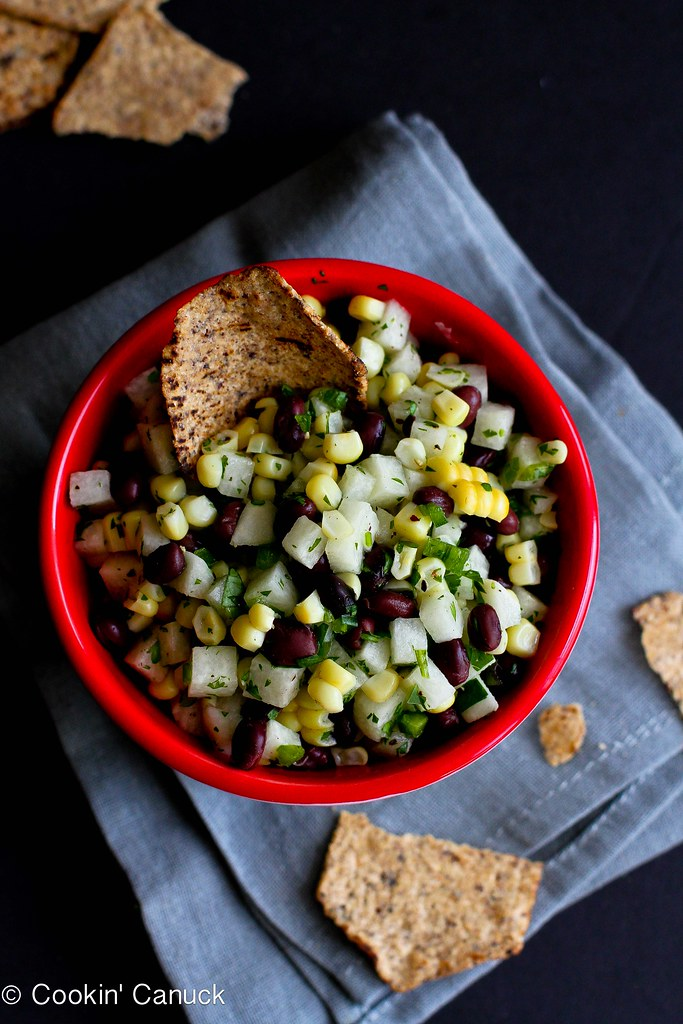 Jicama, Black Bean & Corn Salsa Recipe | cookincanuck.com #vegetarian #vegan