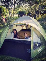 Testing out our tent for Kendal Calling