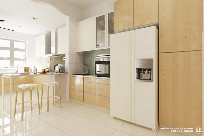 Tall unit in wood-grains door panel, right beside placing the fridge and space for oven.