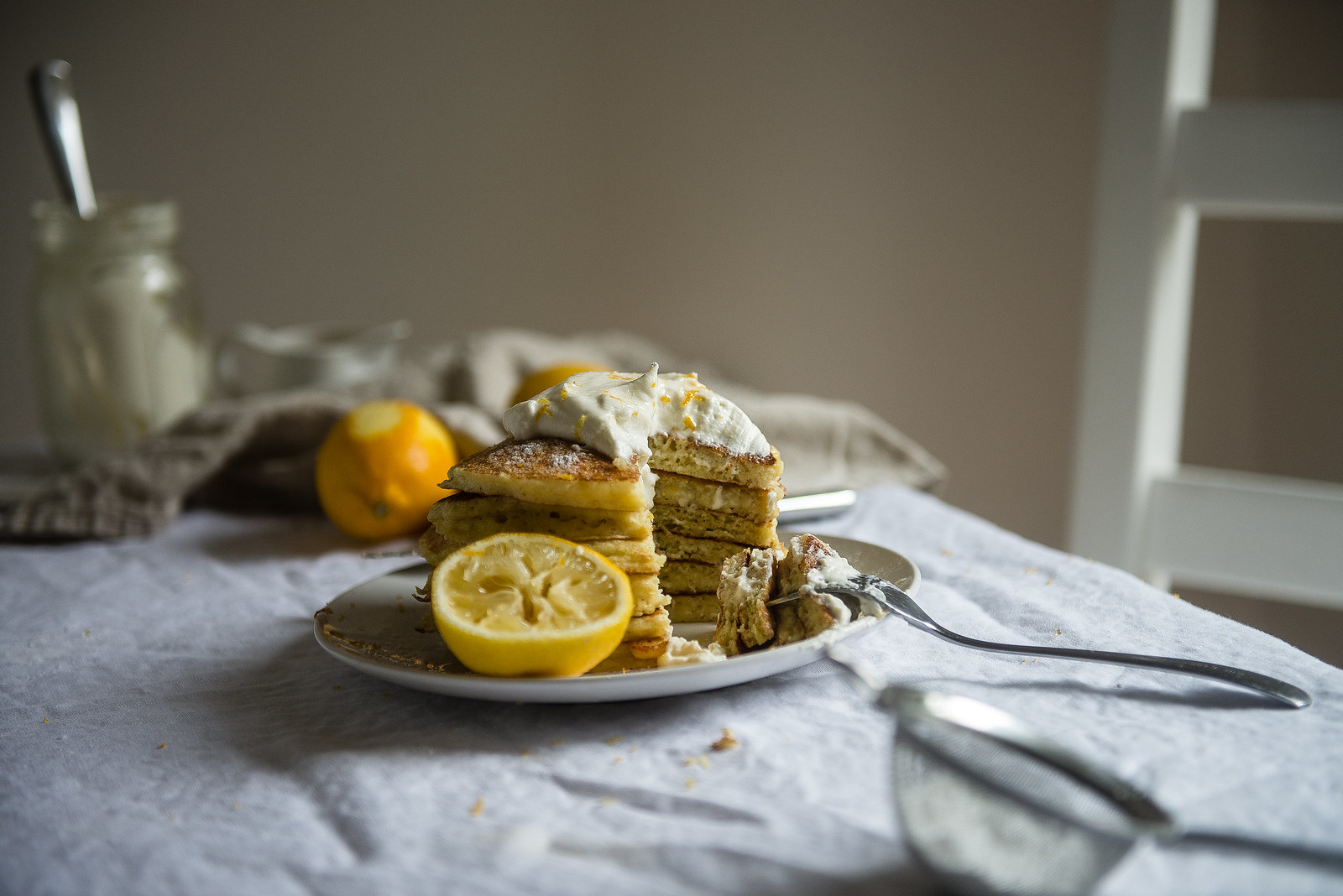 Meyer Lemon Ricotta Pancakes, with Chamomile Whipped Cream