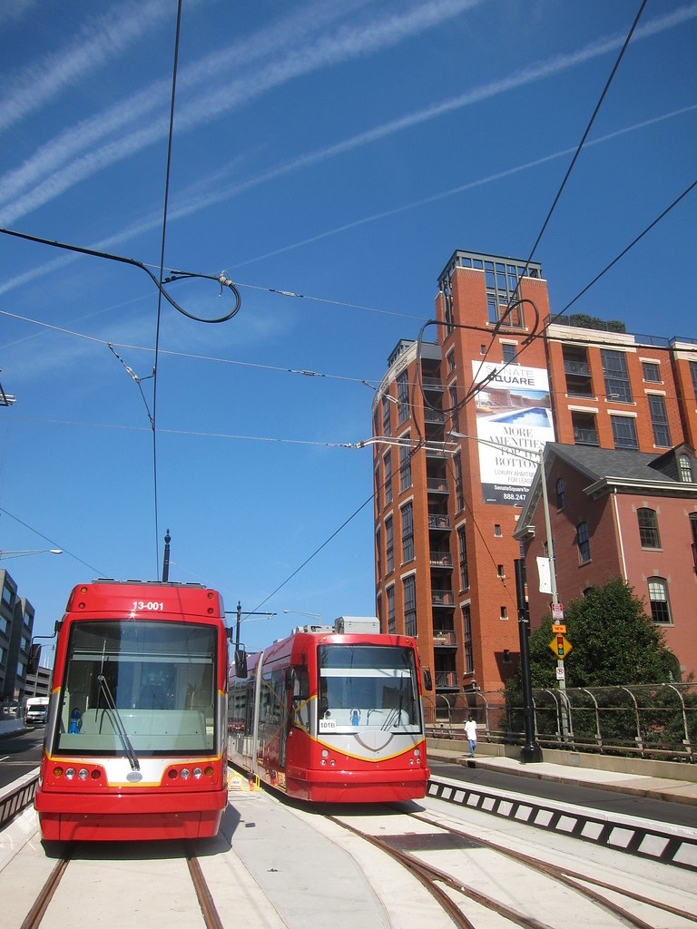United Streetcar on the left, Inekon on the right