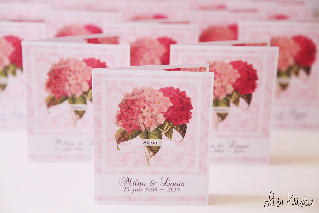 handmade diy cards menu celebration party name tags pink hydrangea damask background flowers theme 50th wedding anniversary fiftieth craft paper