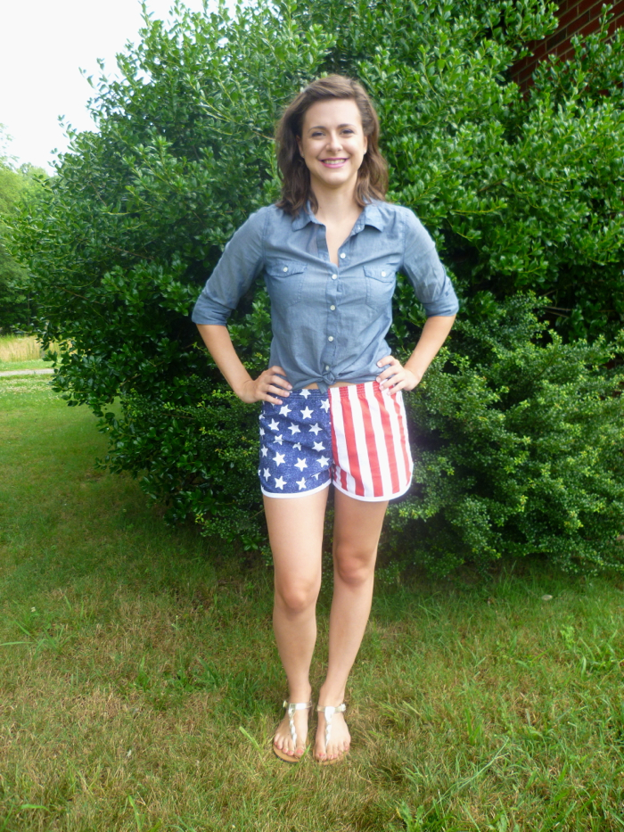 Patriotic American Flag Prefontaine Shorts - front by Hey, It's SJ