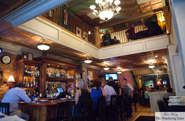Inside Halsey's with a second floor dining area