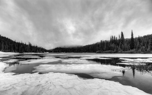 landscape blackandwhite pacificnorthwest mtrainiernationalpark pnw nature outdoors water reflection snow clouds cloudy dull canon wideangle canoneos5dmarkiii samyang14mmf28ifedmcaspherical johnwestrock