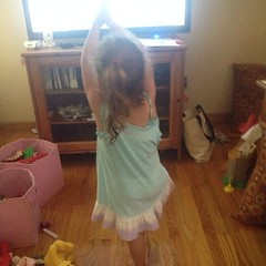 Someone joined me for some wii #yoga this morning. She did really well and kept wanting to do more.