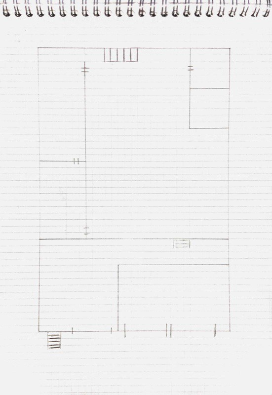 Floorplan for a show-space with balcony of multiple small bedrooms, scanned sketch 1