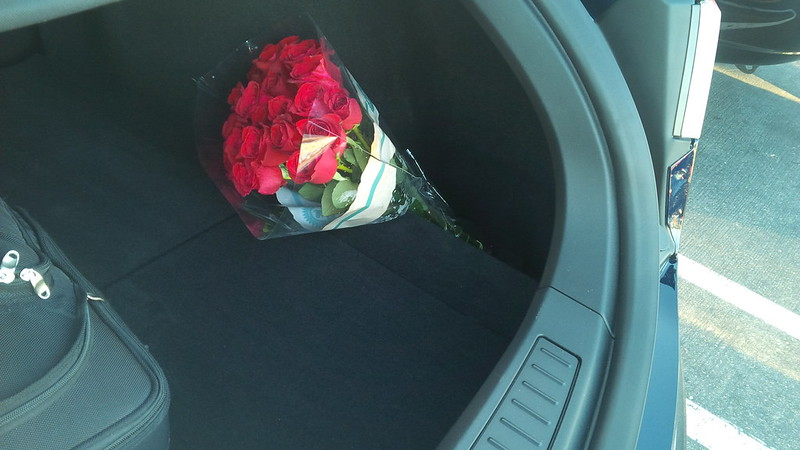 The space in the back of the .@TeslaMotors Model S is perfect to make my wife smile with some roses... Just because!