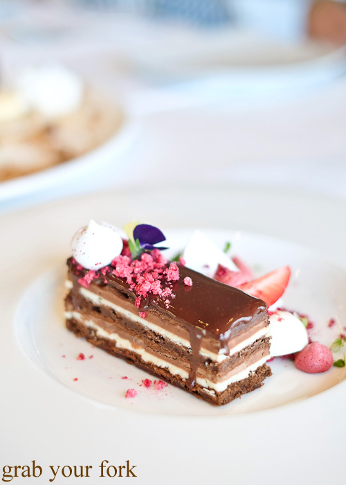 Chocolate and Chambord opera cake at Jonah's, Whale Beach