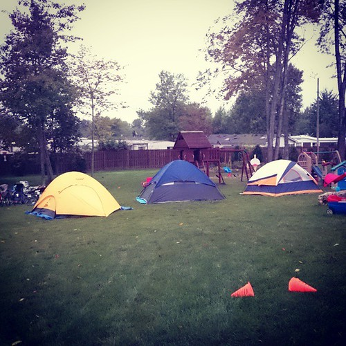 Backyard camping with the 3 year olds