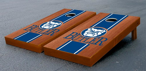 Butler Bulldogs Cornhole Game Set Stained Striped Wooden