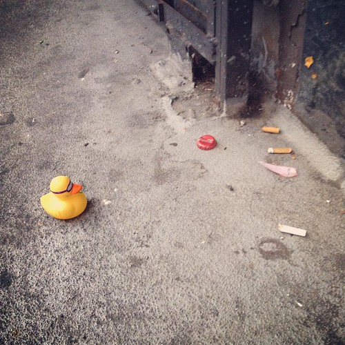 Rubber Duckie has fallen on hard times, after leaving the only home he knew, The Tub, to seek his fortune. #sanfrancisco #streetphotography #hardluckduck