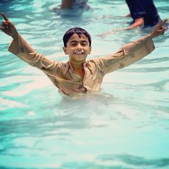 Afridi Style in the pool - Talha Khan #littlebro #bro #pool #summer #wet #shalwarkameez #fun #joy #picnic #family