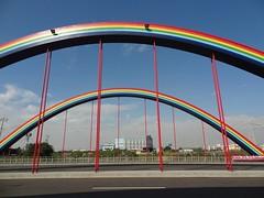arch, highway, road, line, arch bridge, bridge, cable-stayed bridge,