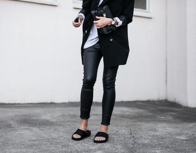 modern legacy fashion blog Australia street style Theory leather leggings Hope man style shirt boyfriend blazer Celine slide sandals Proenza Schouler PS11 mini bag work wear (10 of 12)