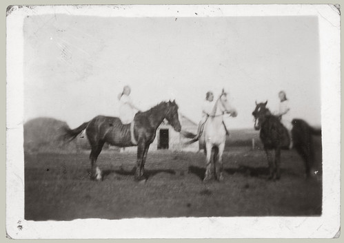 Three children on horseback