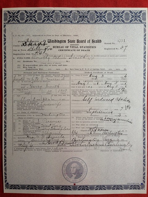 Washington state death certificates