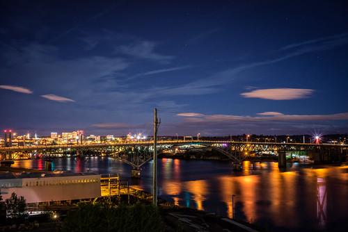 nightshot willametteriver viewfromthebalcony rossislandbridge perfectphotosuite sonya7r zeissfe35mmf28