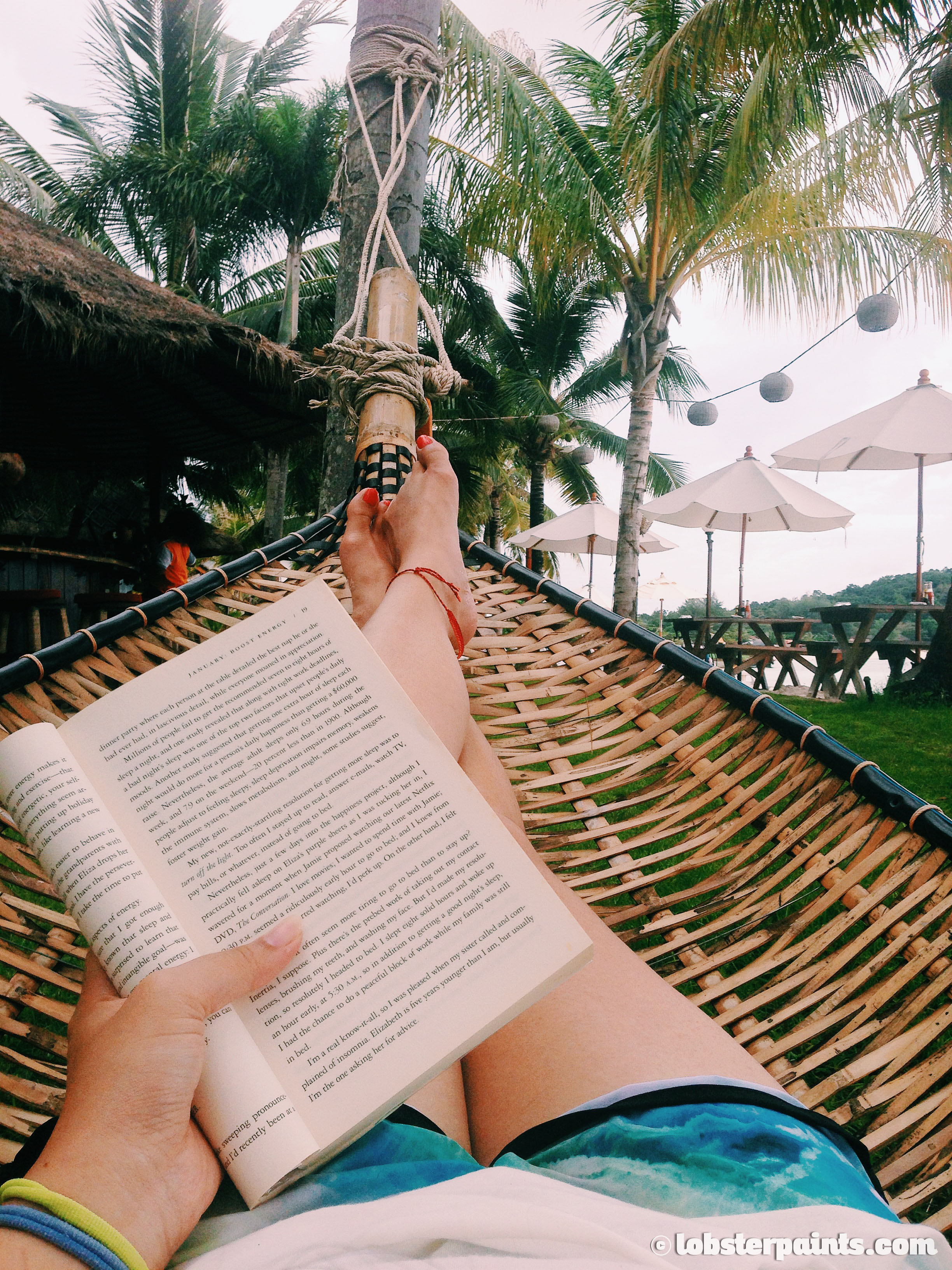 In the hammock with me and my book at Mali Resort | Koh Lipe, Thailand