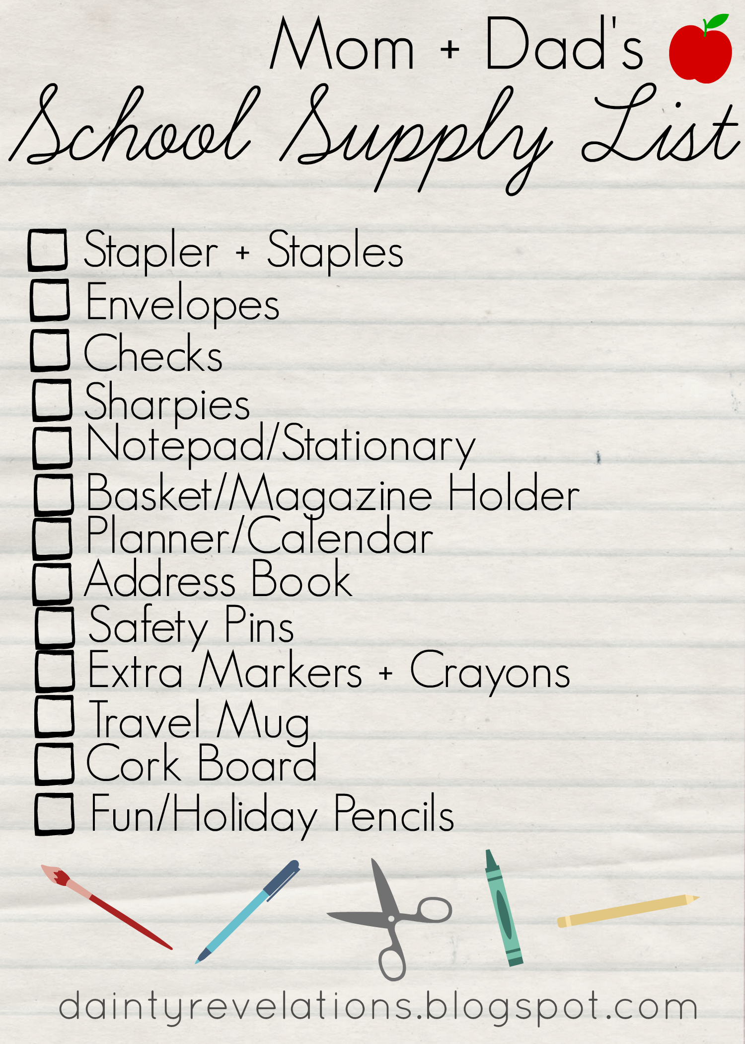 Parents' School Supply Check List