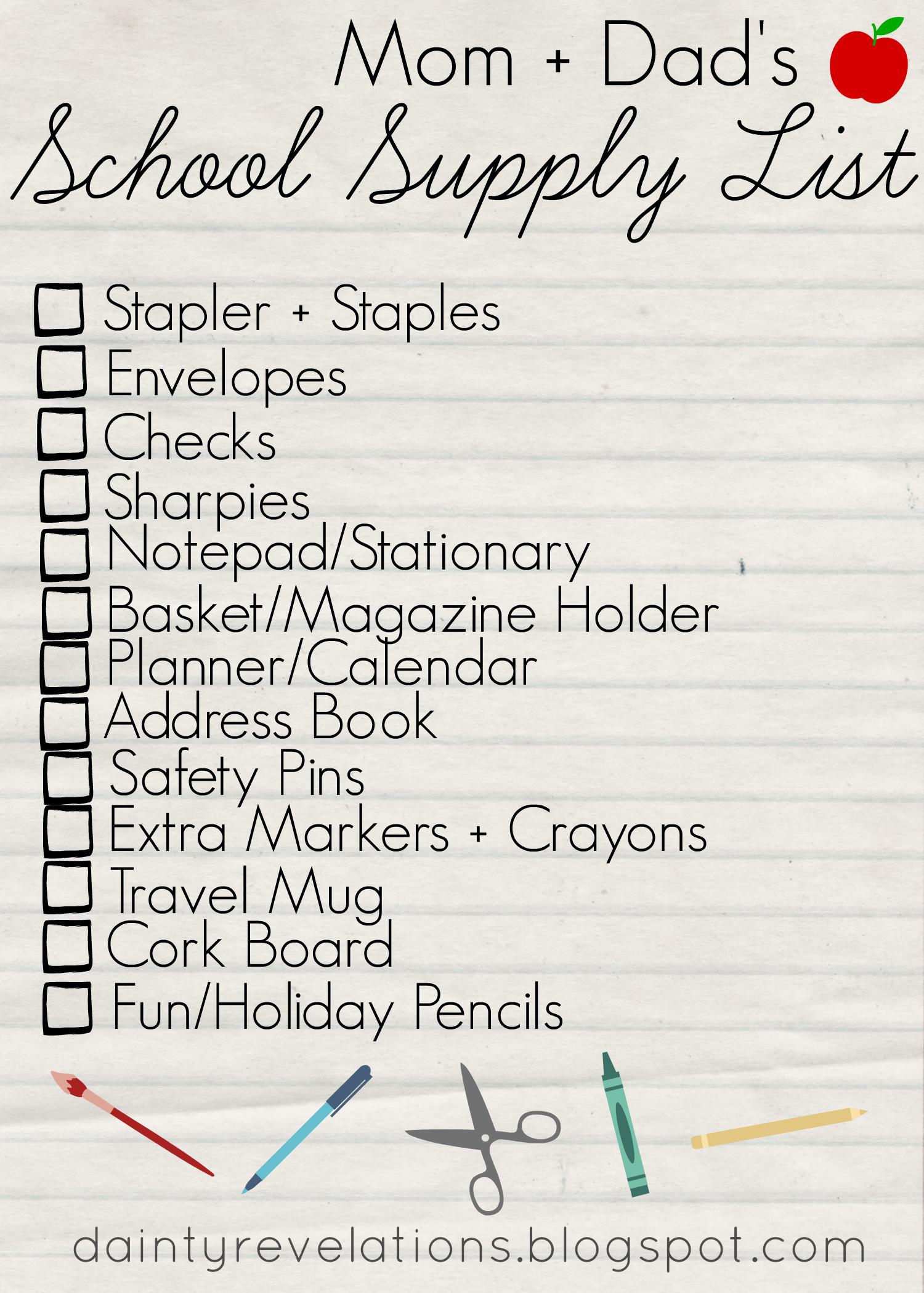 Parents' School Supply Check List