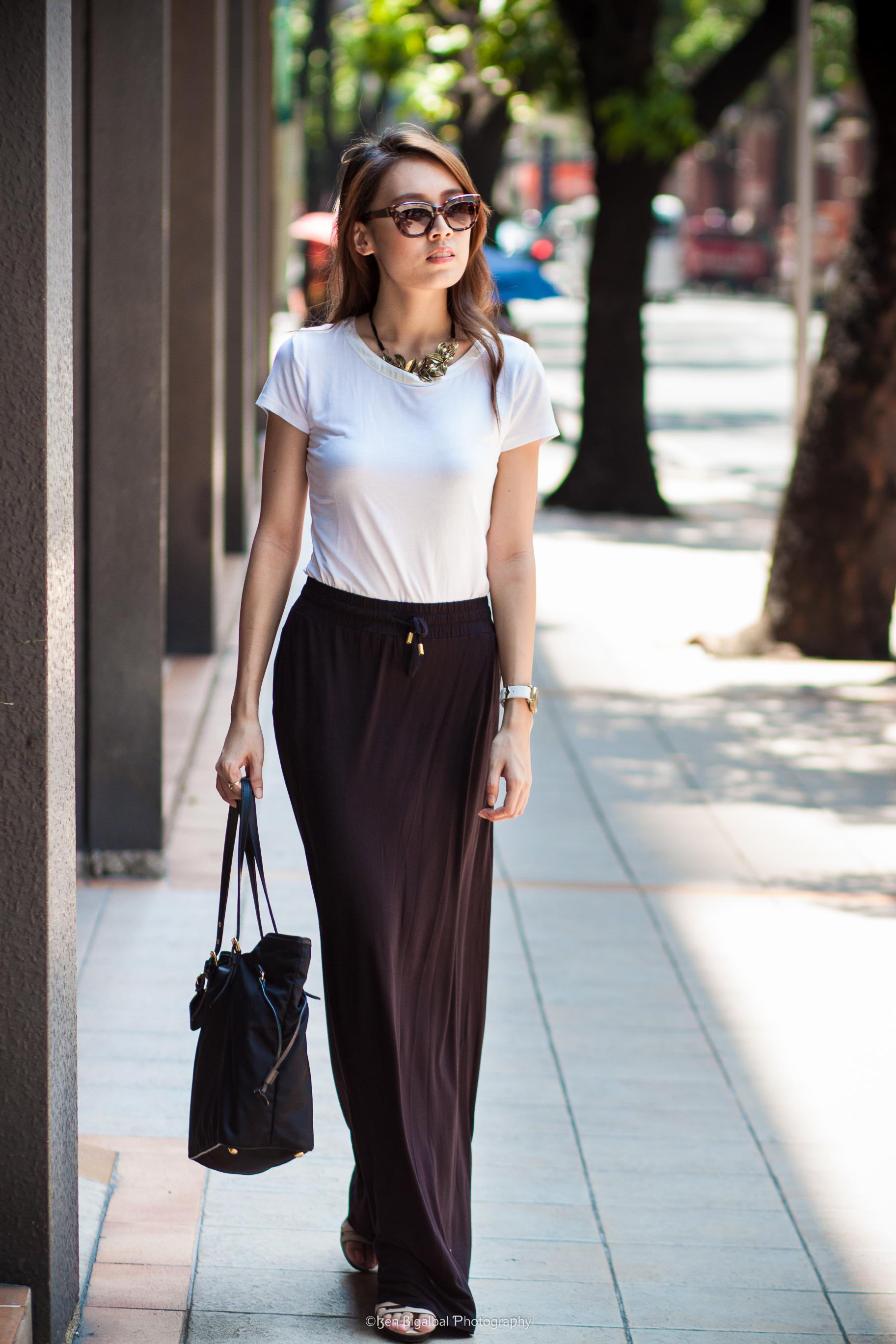 the glamourtini b w series black maxi skirt