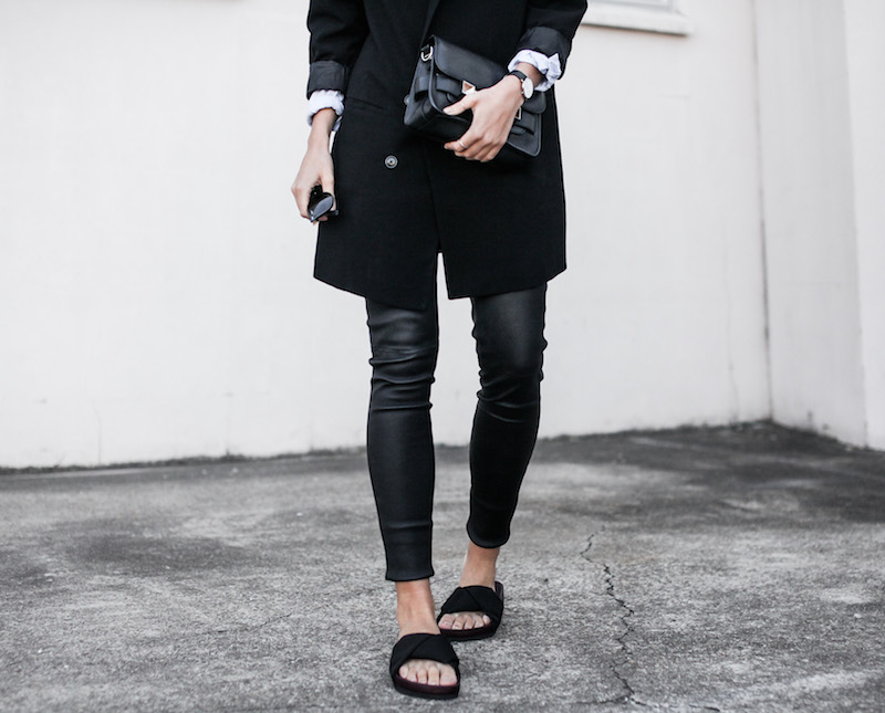 modern legacy fashion blog Australia street style Theory leather leggings Hope man style shirt boyfriend blazer Celine slide sandals Proenza Schouler PS11 mini bag work wear (11 of 12)
